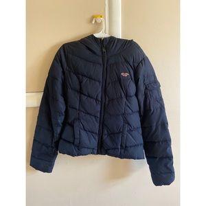 Hollister navy blue bubble coat